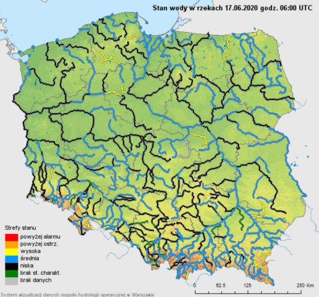 Stan wody w rzekach 17 czerwca (IMGW)