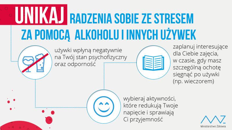 Unikaj radzenia sobie ze stresem za pomocą alkoholu i innych używek (Ministerstwo Zdrowia)