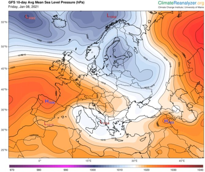 Prognoza średniego ciśnienia atmosferycznego na poziomie morza na najbliższe 10 dni w Europie (ClimateReanalyzer.org)