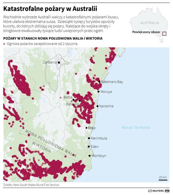 Katastrofalne pożary w Australii (Adam Ziemienowicz/PAP/Reuters)
