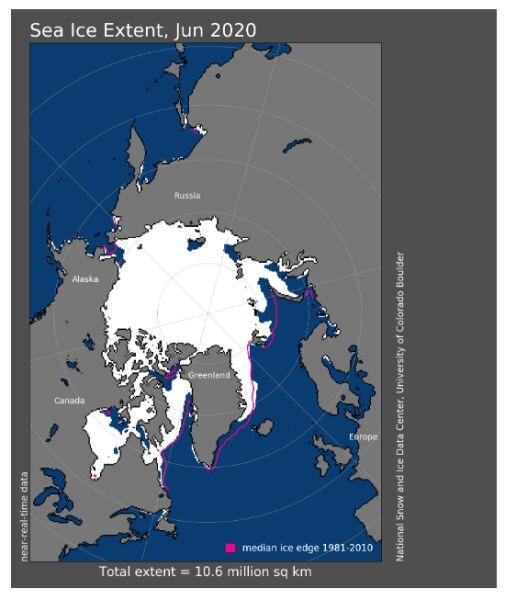 Obszar Morza Arktycznego w czerwcu 2020 (nsidc.org)
