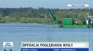 Pogłębianie Wisły w okolicach Płocka (TVN24)